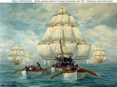 On 21 October 1797 United States Frigate Constitution was launched at the Hartts Boston shipyard, Boston, Massachusetts. Constitution is now the oldest commissioned ship in the U. This painting by Anton Otto Fischer, depicts Constitution's boats t Bateau Pirate, Uss Constitution, Old Sailing Ships, Naval History, Wooden Ship, Nautical Art, Armada, Submarines, Ship Art