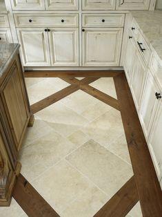 tile floor with wood inlay