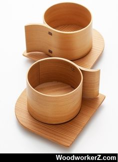 Akita Cedar Wooden Cups by Yukio Hashimoto.  More Woodworking Projects on www.woodworkerz.com