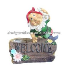 resin flower pot welcome sign for decoration
