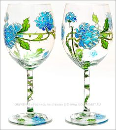 Wine glasses  | Hand painted stained glass.