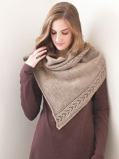 Schoonheid | Berroco.  Simple triangular shawl, knit in stockinette.  The kicker is the lace panel ... endless possibilities using this idea.