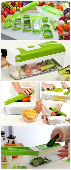 12Pcs Vegetable Fruit Peeler Cutter Multi Function Kitchen Chopper Shredders Tools Easy Kitchen / TechNews24h.com (Vegetable Kitchen Gadgets)