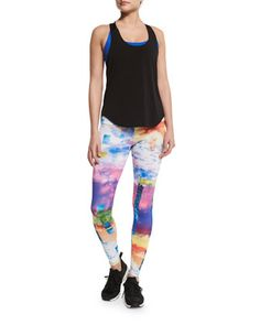 Elastic Y-Back Tank Top, Chic Strappy-Back Sports Bra & Graphic-Print Long Sport Leggings by Onzie at Neiman Marcus.