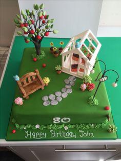 Garden with Greenhouse Birthday Cake Garden Theme Cake, Garden Birthday Cake, 70th Birthday Cake, Garden Cakes, Birthday Cakes For Men, Cupcakes, Cupcake Cakes, Allotment Cake, Paul Cakes