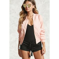 Forever21 Classic Bomber Jacket ($10) ❤ liked on Polyvore featuring outerwear, jackets, pink, woven bomber jacket, lightweight zip jacket, long sleeve jacket, bomber style jacket and woven jacket