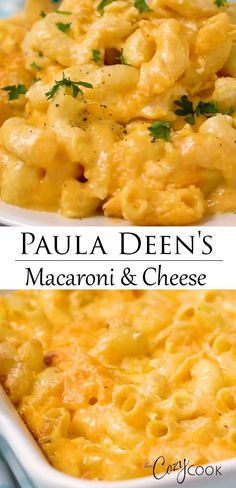 This Paula Deen classic can be baked in the oven, the Crock Pot, or on the stovetop! A perfect side dish idea for pot lucks or feeding a crowd. dinner ideas sides comfort foods Paula Deen's Mac and Cheese Casserole Recipes, Crockpot Recipes, Cooking Recipes, Catering Recipes, Restaurant Recipes, Macaroni Cheese Recipes, Baked Macaroni And Cheese Recipe With Cream Cheese, Baked Mac And Cheese Recipe With Cream Cheese, Simple Mac And Cheese