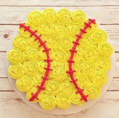 Softball cupcake cake