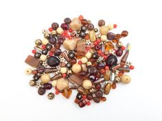 100g 5-15mm Assorted Czech Pressed Glass Bead Fall by nloiscrafts