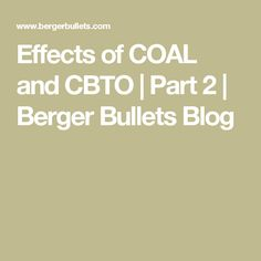Effects Of COAL And CBTO