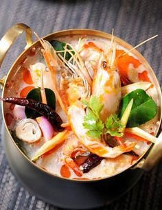TOM YUM KUNG (Thai spicy soup with prawns )
