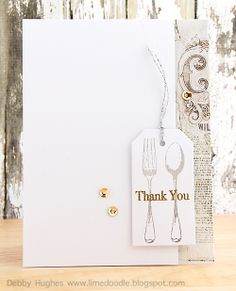 Stamps - Hero Arts fork and spoon D5418,  thank you messages CL142; Inks - Versamark, Versafine smoky gray; Paper - Basic Grey aspen frost