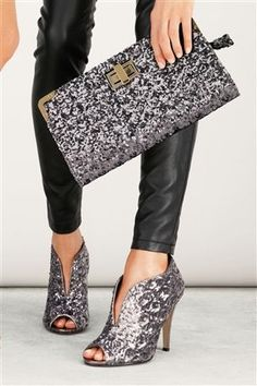 Buy Pewter Sequin High Peep Toe Shoe Boots online today at Next Direct United States of America