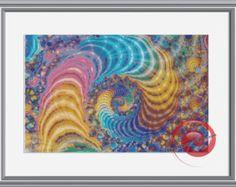 Rainbow Swirls In Fractal Cross Stitch by KustomCrossStitch