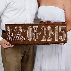 "This personalized ""Our Wedding Date"" Wood Plank Sign is the perfect engagement photo prop! It also makes a great wedding gift idea!"