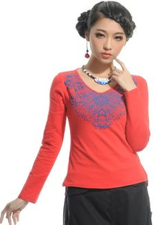 Chinese Style V-Neck Printing Long Sleeve T-Shirt Red-- Click on the picture to order it>>Shop price:US$8.85---#shoes #wholesale #fashion #lovely #cheap #Korean #dress #sexy #clothes#