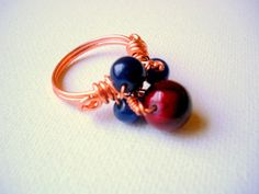 Red Blue and Copper Wire Wrapped Cocktail Ring  by GryffinDesigns