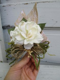 Ivory Corsage Simple Shabby Country Chic with Burlap Rustic Country for Bridal Wedding Shower