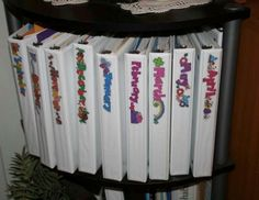 I keep my songs for each month in binders on a 1/2 circle shelf. They are in plastic sleeves so that I can keep manipulatives and anything else that goes with them tucked inside.