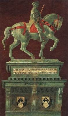 Funerary Monument to Sir John Hawkwood - Paolo Uccello.  1436.  Fresco transferred to canvas.  820 x 515 cm.  Santa Maria del Fiore (Duomo), Florence, Italy.