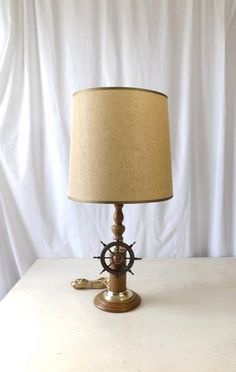 Ship Wheel Table Lamp with Burlap Shade, Wood and Brass, Vintage Nautical Home Decor by MomsantiquesNthings on Etsy