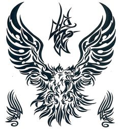 """Tribal Eagle Temporary Tattoo. This is a 7.5"""" x 8"""" temporary tattoo of a tribal eagle"""