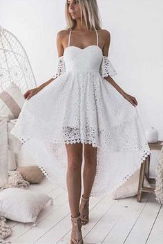 On Sale Soft Lace White Homecoming Dresses, Homecoming Dresses For Cheap, Homecoming Dresses White, Lace Homecoming Dresses Homecoming Dresses High Low, White Homecoming Dresses, Backless Prom Dresses, Dress Prom, Short Prom, High Low Dresses, High Low Outfits, Bridesmaid Dresses, Graduation Dresses