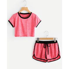 Slub Ringer Crop Tee With Drawstring Shorts ❤ liked on Polyvore featuring tops, t-shirts, crop tee, drawstring top, white crop tee, white t shirt and white top