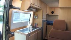 Lots of storage in a CS Rondo Sprinter campervan. The Seitz windows provide dual-pane comfort, less heat loss and integrated blinds.