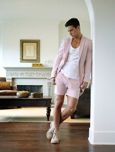 I absolutely love this. Short shorts pink suit!!