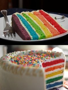Rainbow Cake. Cute for a little kid birthday cake maybe.
