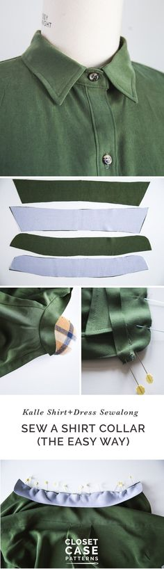 An Alternative Method for Sewing A Shirt Collar // Kalle Sewalong https://closetcasepatterns.com/an-alternative-method-for-sewing-a-shirt-collar-kalle-sewalong/