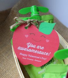 Awesomesauce Applesauce Valentine – Classroom Valentine, Kids Valentine, Valentine Treat, Personalized Printable, Valentine's Day Diy Valentine's Gifts For Kids, Valentine Gifts For Kids, Teacher Valentine, Valentine's Cards For Kids, Valentine Treats, Valentines Day Party, Toddler Gifts, Printable Valentine, Diy Gifts