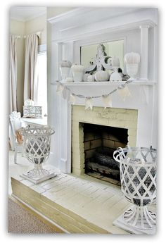 Really pretty all white Fall decor. Chic Fall Home Tour Amazing vintage fireplace in the bedroom. Fireplace Redo, Fall Fireplace, Vintage Fireplace, White Fireplace, Bedroom Fireplace, White Mantle, Georgia Homes, Shabby Cottage, Shabby Chic