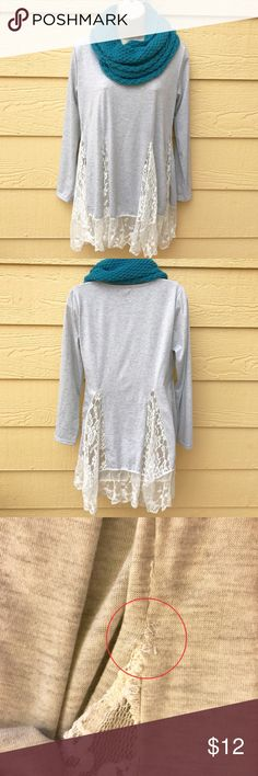 """🆕item! Lace Tunic Lightly used ABL Fashion Collection heather grey and lace Tunic. This runs small so it fits closer to medium than a large IMO. Unknown material. Recommend machine wash cold, lay flat to dry. Approx 26"""" shoulder to bottom hem of grey material (not including lace). 18"""" armpit to armpit. Had a hold in right side seam but it was mended. Please refer to photo. Buyer assumes fit/comfort/personal taste. Actual color may vary. ❌no trades ✔️Poshmark only. Washed and ready to wear…"""