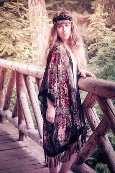 Black fringed silk burnout velvet kimono by dollpoupeeboutique