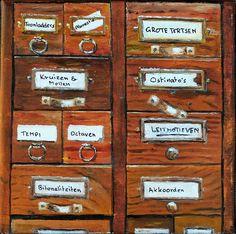 Het Ladenblokje van de Musicus - oil on canvas - cm - € 275 Bari, Oil On Canvas, Coasters, Paintings, Paint, Coaster, Painting Art, Painting, Painted Canvas