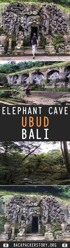 Goa Gajah or more commonly known as the Elephant Cave is a temple situated on the outskirts of Ubud, Bali. How to get to Elephant Cave Ubud, Backpacker, Cheap Web Hosting, Goa, Cave, Destinations, Elephant, Spaces, Caves