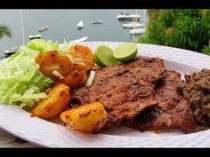 cómo hacer CARNE ENCHILADA - YouTube Quesadilla, Burritos, Mexican Food Recipes, Steak, Bbq, Pork, Chicken, Youtube, Sauces