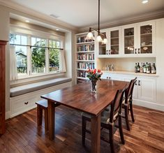 Love the windows, bench with storage, built-in hutch. Craftsman Bungalow Remodel