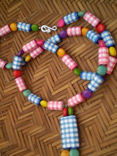 Gingham PAPER BEADS Pink Blue White Acrylic by ActuallyPAPERBeads