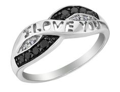 White and Black Diamond I Love You Promise Ring 1/10 Carat (ctw) in Sterling Silver $169.00 (save $131.00)