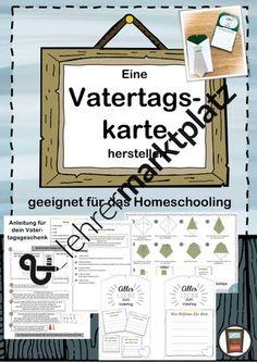 Vatertagskarte herstellen - auch Homeschooling Classroom Management, Ideas For Gifts, Teaching Materials, Primary School, Tutorials