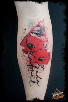 Trash Polka tattoo. I love this with just the poppies and the kids names as stems :)