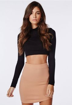 436ac3f7c1617 Ponte Curve Hem Mini Skirt Nude - Skirts - Missguided Mini Skirts