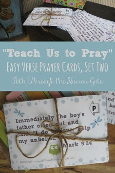 """Are you intentionally teaching your kids to pray? Its simple with these """"Teach Us to Pray"""" cards, each featuring a Bible verse to be prayed."""