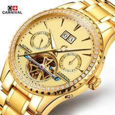 88.90$  Watch here - http://alidy9.worldwells.pw/go.php?t=32789692405 - Top Brand Luxury Business Men Diamonds Gold Watch Carnival Automatic Mechanical Tourbillon Watches Luminous Waterproof 30M Clock 88.90$