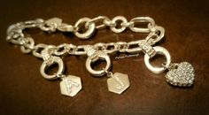 Origami Owl-Core initials on a deco bracelet! Use the crystal pendants to display each initial!