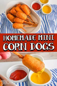 Super simple to make, this easy mini corn dogs recipe is one for the record-books! They're perfectly sized for both cooking AND snacking! Best part? They're one of my favorite game day appetizers that are perfect for a baseball game watch party or baseball baby shower – all of the parties! LOL! One of best parts, though is that these little corn dog bites are NOT frozen and just warmed up. They're a tasty treat that's 100% homemade.