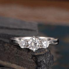 Three Stone Engagement Ring Moissanite White Gold Eternity Ring Unique Anniversary Promise Ring Wedding Bridal Classic For Women Solid 14k by SzekiStudio on Etsy https://www.etsy.com/listing/541559699/three-stone-engagement-ring-moissanite